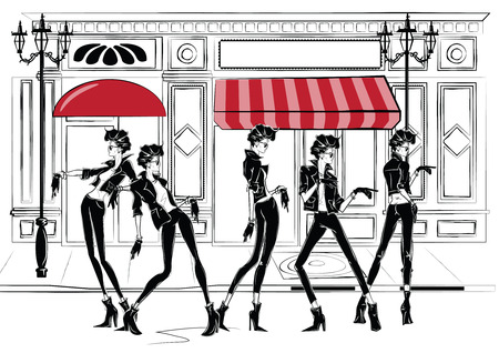 Five fashion women in sketch style in Paris. Vector illustration.