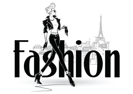 Fashion woman in sketch style. Vector illustration. Vektoros illusztráció