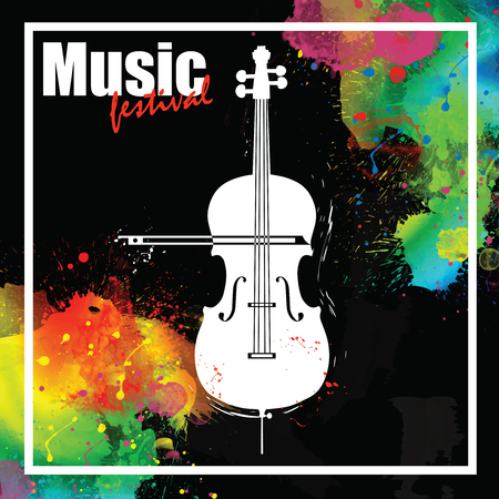 Music festival design template with contrabass and place for text. Illustration