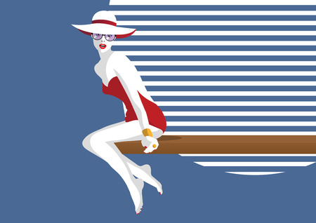 Fashion woman in style pop art on a beach. Vector illustration