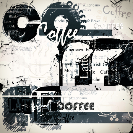 Coffee background. Letters on a grunge background. Banco de Imagens
