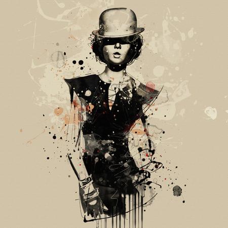 Modefrau im Kabarettstil. Aquarellillustration, Grunge-Mode