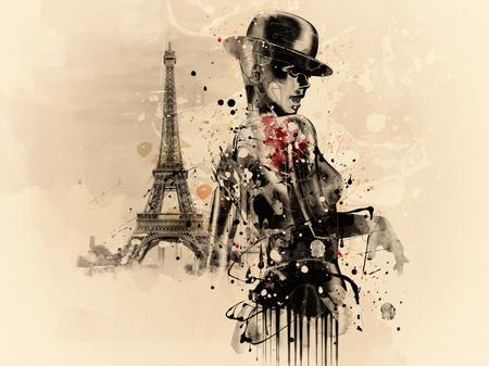 Abstrakte Frau im Kabarettstil in Paris. Aquarellillustration, Grunge-Mode Standard-Bild