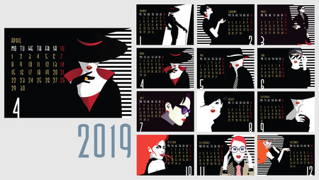 Vector of 2019 new year calendar with fashion women in style pop art.