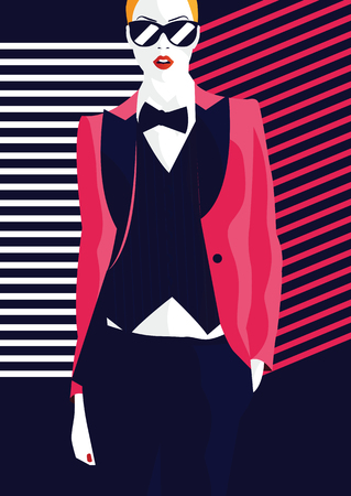 Fashion woman in style pop art. Vector illustration Vectores