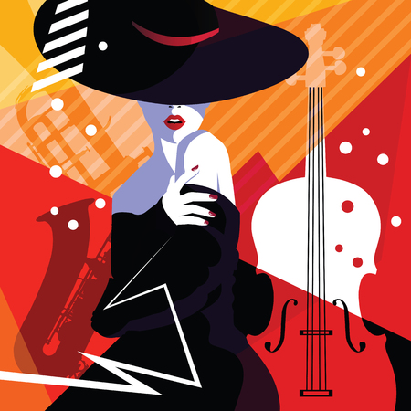 Fashion woman in style pop art on abstract musical background. Colourful jazz poster with trumpet, contrabass and saxophone