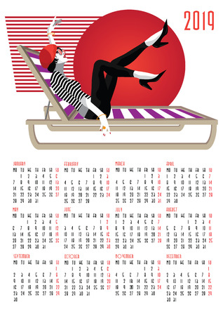 European calendar with fashion girl in style pop art