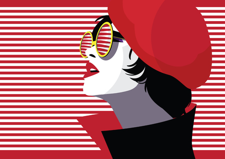 Fashion woman in style pop art. Vector illustration Stock Illustratie