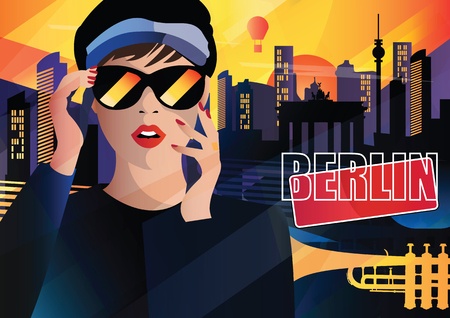 Fashion woman in style pop art in Berlin. Vector illustration 일러스트