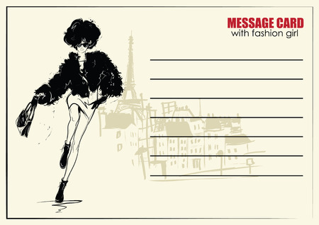 Business cards with fashion woman.