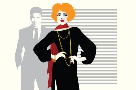 Fashion woman in style pop art. Vector illustration  イラスト・ベクター素材