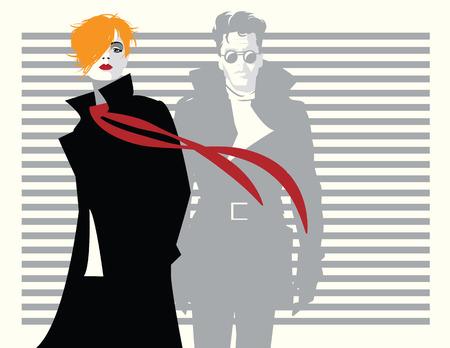 Moda donna e uomo in stile pop art.