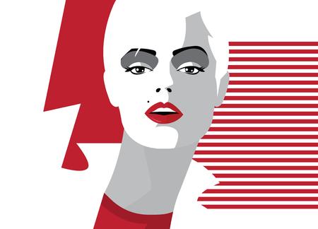 Fashion woman in style pop art. Ilustración de vector