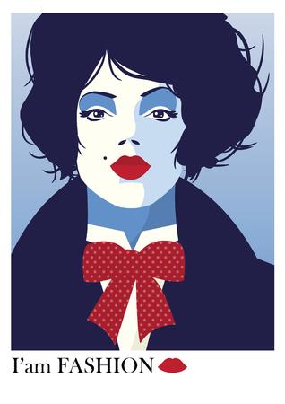 Fashion woman in style pop art. 矢量图片