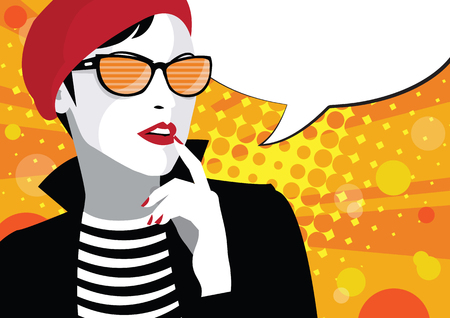 A frame from comic book with fashion woman in style Pop art.