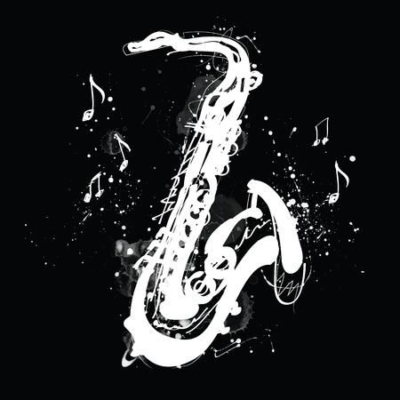 White silhouette of saxophone with grunge splashes on black background 版權商用圖片