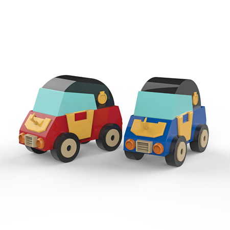 Two cartoon cars on a white background. 3d illustration Фото со стока
