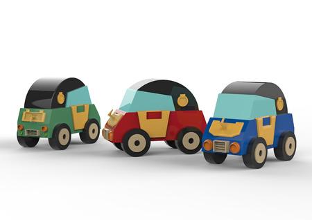 Three cartoon cars on a white background. 3d illustration