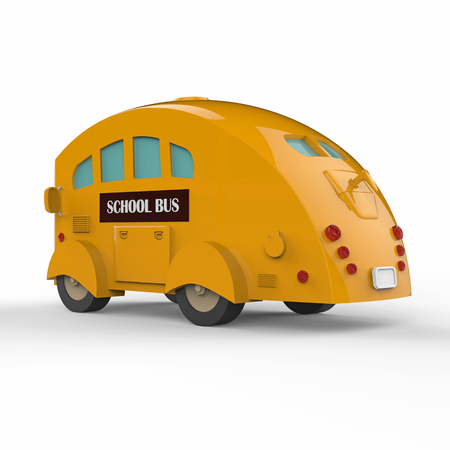 Yellow school bus on white background. 3d Illustration