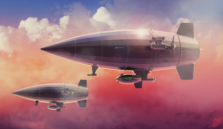Vintage airship Zeppelin in the sky. Dirigible balloon. 3d illustration Stock Photo