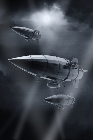 Vintage airship Zeppelin in the sky. Dirigible balloon. 3d illustration.