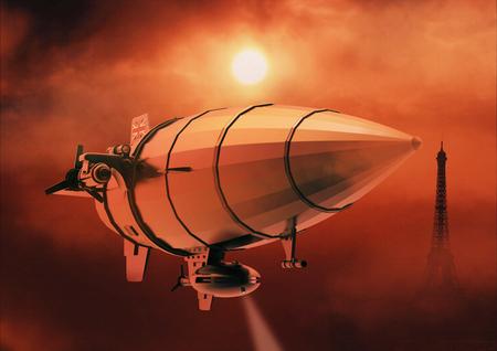 Vintage airship Zeppelin in the sky. Dirigible balloon. 3d illustration Reklamní fotografie