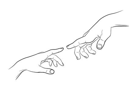 Skizzieren Sie berührende Hände. Mann und Frau. Schwarz und weiß. Vektorgrafik