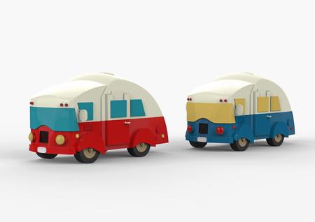 白の上に2つのヴィンテージキャンプ車 写真素材