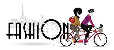 Two fashionable girls on a bike.