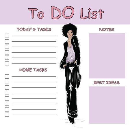 To do list with fashion woman in style sketch.