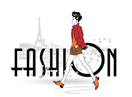 Fashion girl in sketch style on a white background. Vector illustration.