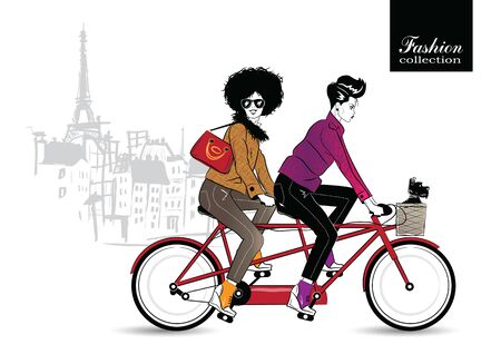 Two fashionable girls on a bicycle. Illustration
