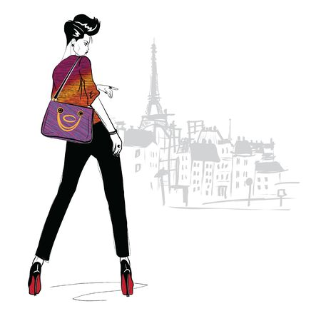 Fashion girl in sketch style on a white
