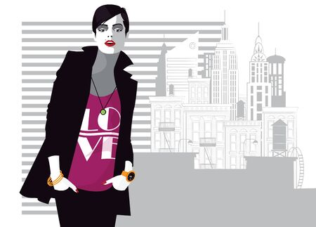 Fashion woman in style pop art in New York. 일러스트