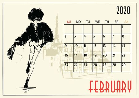 February. 2020 Calendar with fashion girl in sketch style.