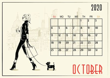 October. 2020 Calendar with fashion girl in sketch style. Foto de archivo - 129714792