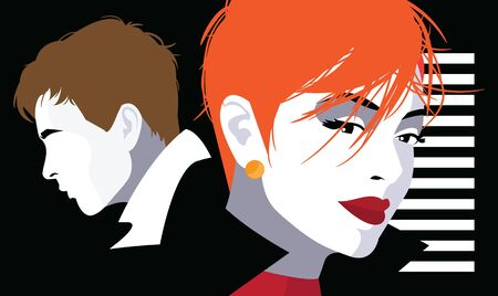 Couple in love. Fashion illustration in style Pop art.