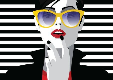 Mode vrouw in stijl pop art. Vector illustratie
