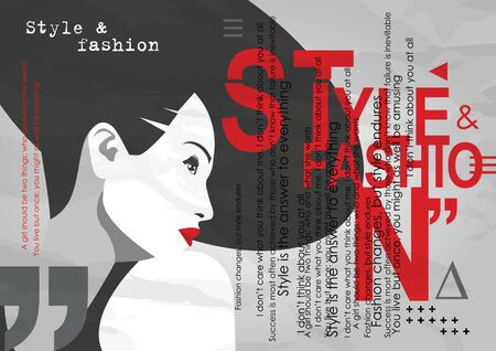Fashion girl in styke Pop art with quote. Vector illustration.