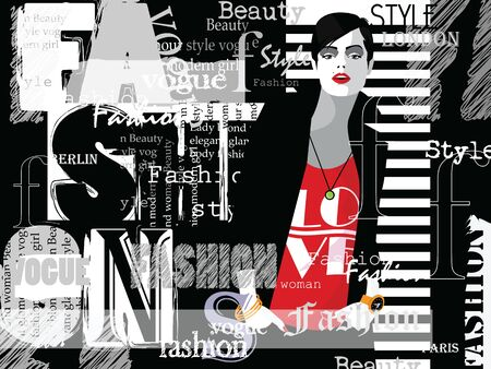 Mujer de moda en estilo pop art con tipografía. Ilustración vectorial