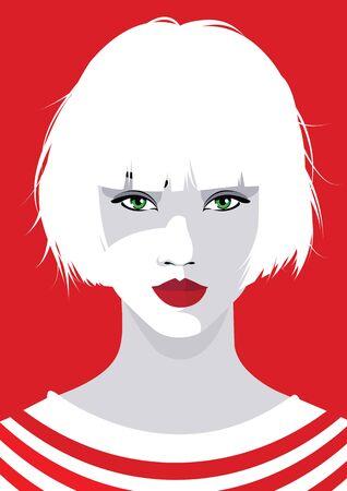 Asian fashion woman in style pop art. Vector illustration Vettoriali