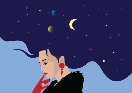The profile of a girl with he hair full of stars inside. Female portrait of magic night fairy. Vector illustration. Fantasy, spirituality, occultism.