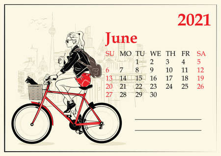 June. 2021 Calendar with fashion girl in sketch style.  イラスト・ベクター素材