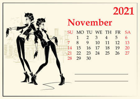 November. 2021 Calendar with fashion girl in sketch style. Иллюстрация