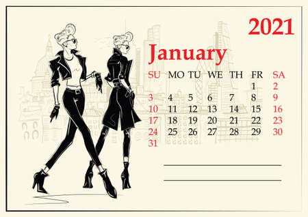 January. 2021 Calendar with fashion girl in sketch style.