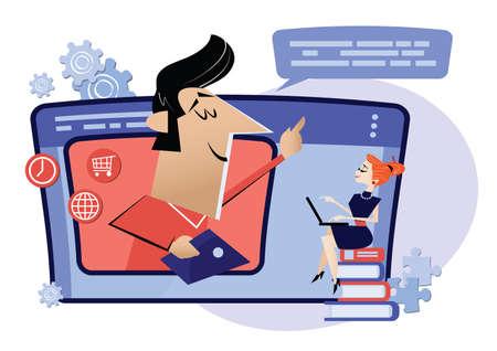 Work online, internet classes, education online. Webinar, digital classroom online teaching metaphor 向量圖像