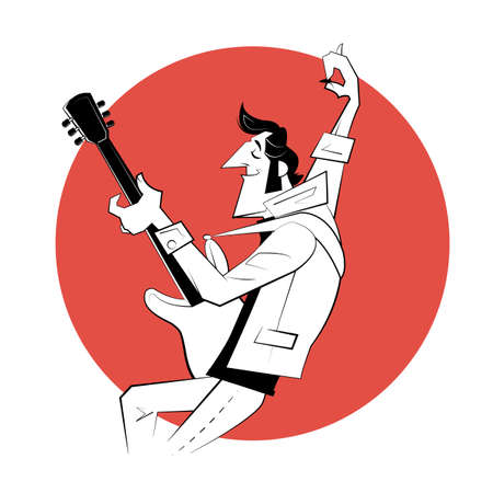 Cartoon rock star with electric guitar play rock n roll on red background. Retro illustration in sketch style. Çizim