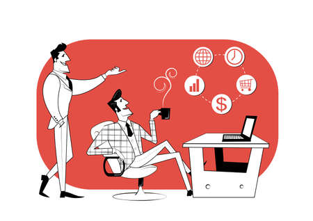 Two business partners are discussing work progress. Business contract, idea financing. Vector illustration
