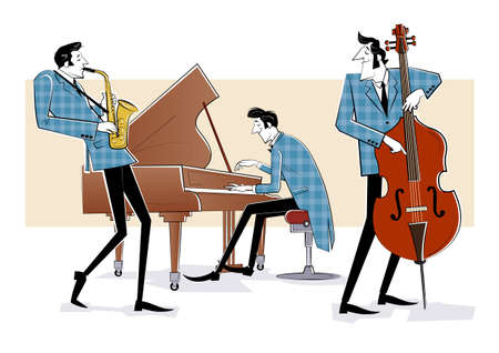Vector illustration of a Jazz band with double-bass, saxophon and piano