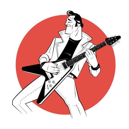 Rocker with electric guitar in sketch style on red background. Vector illustration. Ilustración de vector